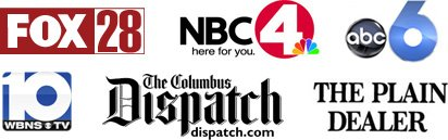 Fox 28, NBC 4, ABC 6, WBNS 10 - CBS, The Columbus Dispatch, the Plain Dealer